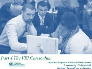 Part 4 The VEI Curriculum Southern Region Professional