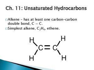 Ch 11 Unsaturated Hydrocarbons Alkene has at least