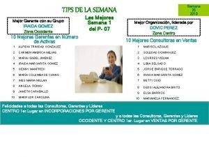 Semana 25 2010 TIPS DE LA SEMANA Mejor