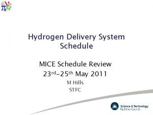 Hydrogen Delivery System Schedule MICE Schedule Review 23