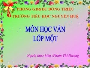 PHNG GDT NG TRIU TRNG TIU HC NGUYN