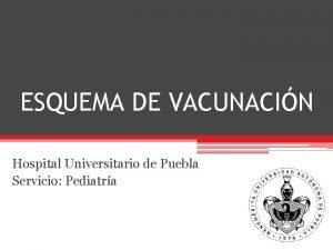 ESQUEMA DE VACUNACIN Hospital Universitario de Puebla Servicio