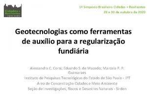 1 Simpsio Brasileiro Cidades Resilientes 28 a 30