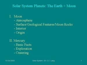 Solar System Planets The Earth Moon I Moon