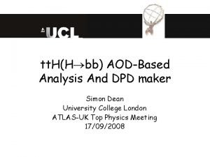 tt HH bb AODBased Analysis And DPD maker