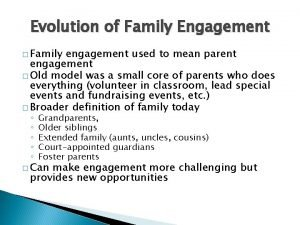 Evolution of Family Engagement Family engagement used to