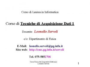 Introduzione Corso di Laurea in Informatica Corso di