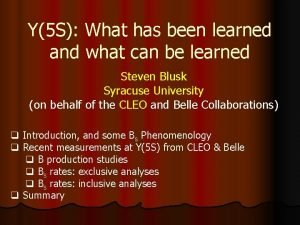Y5 S What has been learned and what