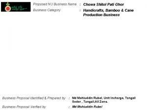 Proposed NU Business Name Chowa Shitol Pati Ghor