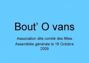 Bout O vans Association dite comit des ftes