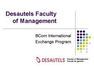 Desautels Faculty of Management BCom International Exchange Program