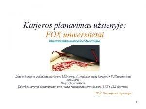 Karjeros planavimas usienyje FOX universitetai https www youtube