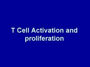 T Cell Activation and proliferation Intercepting and Clearing