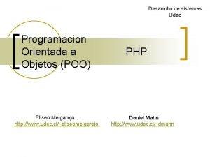 Desarrollo de sistemas Udec Programacion Orientada a Objetos