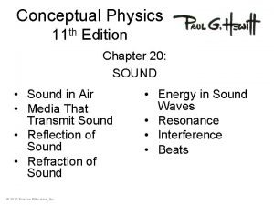 Conceptual Physics 11 th Edition Chapter 20 SOUND