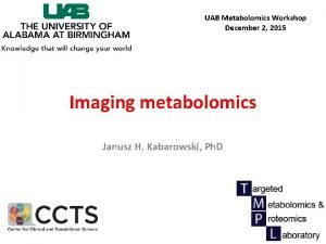 UAB Metabolomics Workshop December 2 2015 Imaging metabolomics