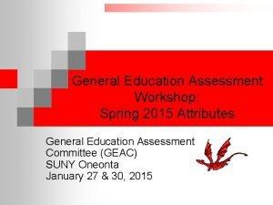 General Education Assessment Workshop Spring 2015 Attributes General