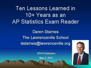 Ten Lessons Learned in 10 Years as an