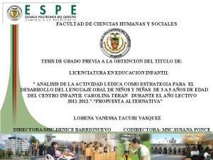 FACULTAD DE CIENCIAS HUMANAS Y SOCIALES TESIS DE