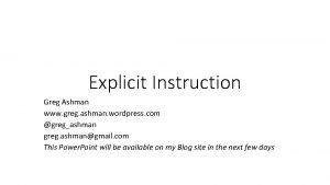 Explicit Instruction Greg Ashman www greg ashman wordpress