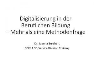 Digitalisierung in der Beruflichen Bildung Mehr als eine
