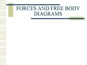 FORCES AND FREE BODY DIAGRAMS Types of Forces