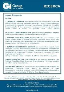 RICERCA Agenzia di Borgosesia Ricerca 1 IMPIEGATO CONTABILE