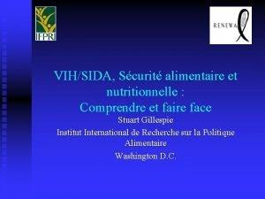 VIHSIDA Scurit alimentaire et nutritionnelle Comprendre et faire