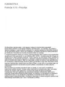 HUMANISTIKA Podroje 6 10 Filozofija Za filozofsko raziskovanje