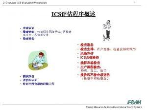 2 Overview ICS Evaluation Procedures 2 ICS ICS