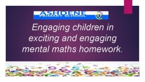Engaging children in exciting and engaging mental maths
