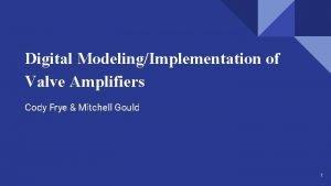 Digital ModelingImplementation of Valve Amplifiers Cody Frye Mitchell