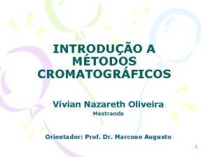 INTRODUO A MTODOS CROMATOGRFICOS Vvian Nazareth Oliveira Mestranda