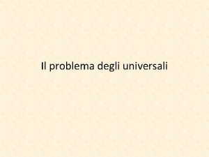Il problema degli universali Lorigine del problema lIsagog