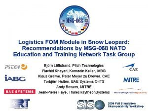 Logistics FOM Module in Snow Leopard Recommendations by