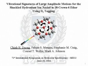 Vibrational Signatures of Large Amplitude Motions for the