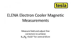 ELENA Electron Cooler Magnetic Measurements Measure field and