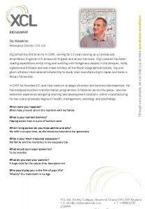 Dig Woodvine Managing Director XCL Ltd Dig joined