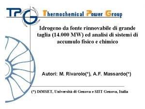 Idrogeno da fonte rinnovabile di grande taglia 14