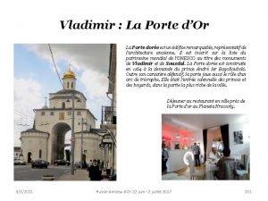 Vladimir La Porte dOr La Porte dore est