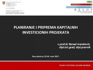 PLANIRANJE I PRIPREMA KAPITALNIH INVESTICIONIH PROJEKATA v prof