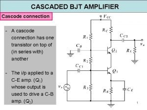 CASCADED BJT AMPLIFIER Cascode connection A cascode connection