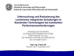 Universitt Rostock Fakultt fr Informatik und Elektrotechnik Institut
