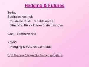 Hedging Futures Today Business has risk Business Risk