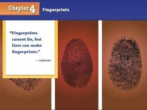 Fingerprints Fingerprints Objectives You will understand Why fingerprints
