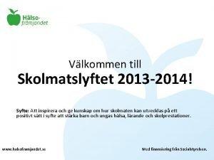 Vlkommen till Skolmatslyftet 2013 2014 Syfte Att inspirera