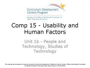 Comp 15 Usability and Human Factors Unit 1