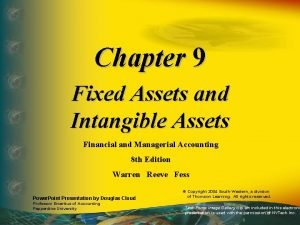 Chapter 9 Fixed Assets and Intangible Assets Financial