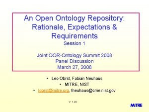 An Open Ontology Repository Rationale Expectations Requirements Session