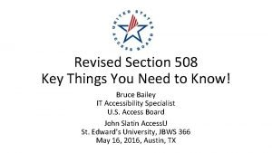 Revised Section 508 Key Things You Need to